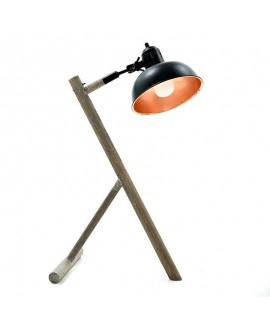 Lampada stile Industrial in ferro e legno di Inart